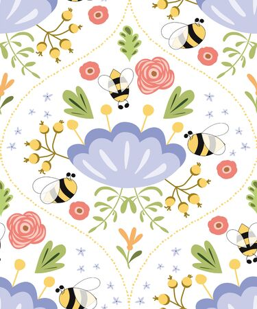 Summer seamless pattern bee flowers Damask floral print. Cute pattern design for fabric textile print