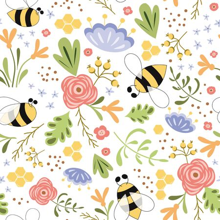 Cute floral summer seamless pattern Bee honey spring flowers Bright meadow colors Summer bee background