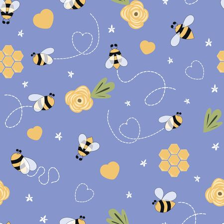 Kids bee seamless pattern in violet background Cute cartoon doodle bees, flowers, honey, hearts lovely lilac print