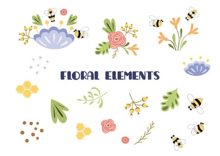 Floral elements set. Summer clip art. Cute hand drawn collection of flowers, leaves, plants, insects, bee, honey isolated on white. Beautiful spa illustration for decoration cards, prints, banners. 写真素材