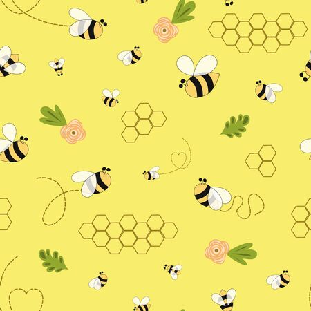Apiary Bee honey pattern Bee floral yellow template Bee seamless pattern Cute honey background