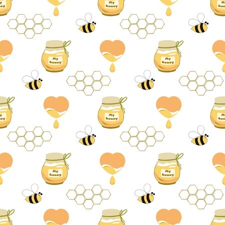 Sweet honey seamless pattern Honey jar heart, bee, honeycomb background Cute hand drawn honey design