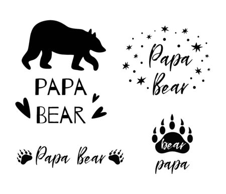 Papa bear text collection. Black paw symbol. Simple papa bear set. Cute fathers day cards, icon, logo. Kids nursery wall art poster, Cloth print. Bear illustration. Fathers day. Typography phrases.