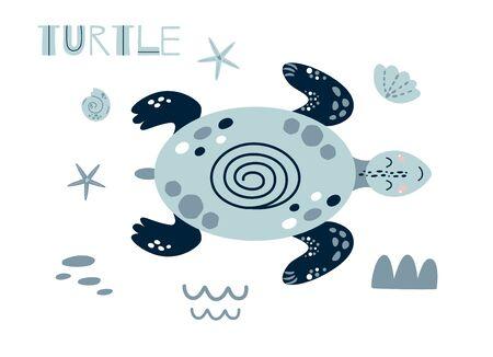Cute turtle cartoon. Cute baby ocean animal. Gender neutral summer sea element kids nautical print. Funny blue turtle. Summer baby shower, kids birthday party designs character. Vector Illustration.