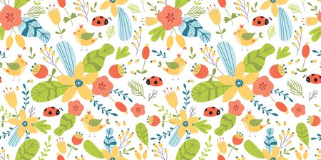 Summer floral cute insects seamless pattern. Yellow flower gren leaf branch berry bird hand drawn elements. Bright summer texture. Cute textile fabric design. Female background. Floral illustration.  イラスト・ベクター素材