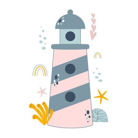 Kids lighthouse cute illustration. Summer nautical design poster with cute sea lighthouse. Baby girl fairy element in vector. Ocean print, star fish, underwater life, cartoon style, grey pink colors.