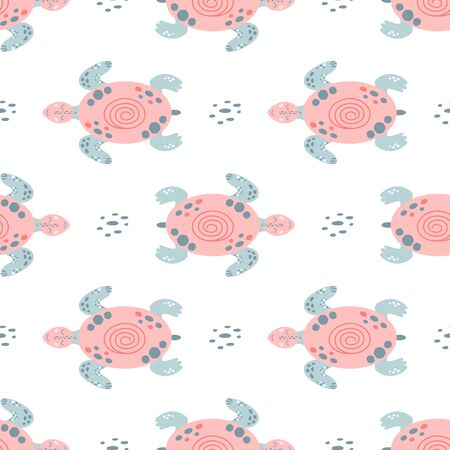 Pink sea turtle seamless pattern Cute swimming pink turtles. Girls nautical pattern wallpaper. Sea baby kids background, surface textures. Hand drawn ocean animals Simple summer vector illustration. 写真素材 - 149550980