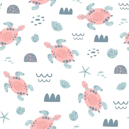Pink sea turtle seamless pattern Cute swimming pink turtles. Girls nautical pattern wallpaper. Sea baby kids background, surface textures. Hand drawn ocean animals Simple summer vector illustration. 写真素材 - 149550981