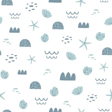 Grey and white sea seamless pattern. Coral background. Cute summer ocean vector print. Pastel colors kids pattern. Sweet baby sea graphic design for textile, wrap, cloth nautical repeat illustration.  イラスト・ベクター素材