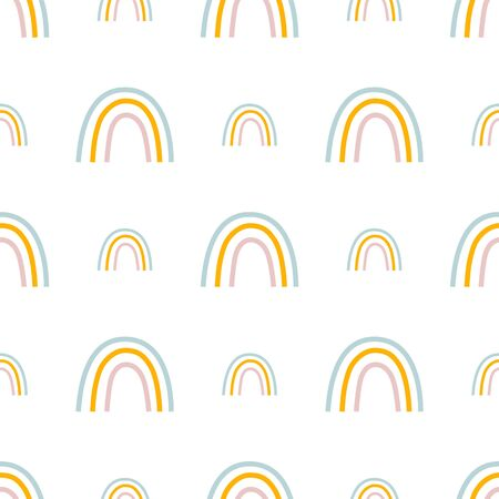 Rainbow seamless pattern for baby design. Hand drawn cute kids nursery rainbow repeat background. Pastel colours illustration. Simple pattern for kids textile, fabric, printable paper. Baby apparel.