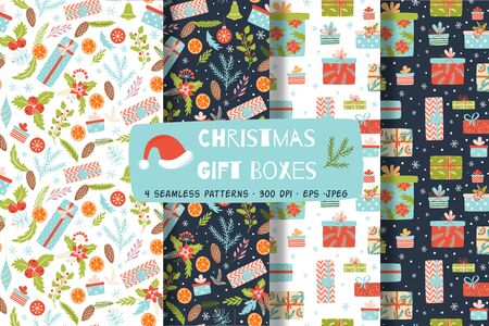 Christmas gift boxes seamless paattern set Chistmas presents wrapping paper. Santa's gifts printable paper collection in dark light colors. Hand drawn New Year elements background Vector illustration. 向量圖像