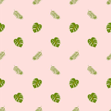 Tropical seamless pattern with exotic green leaves on pink background. Simple summer nature printable paper. Cute wallpaper, textile with monstera leaf. Seamless jungle print. Vector illustration. 写真素材 - 149550987