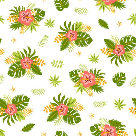 Seamless exotic pattern with tropical leaves and flowers on a white background. Hibiscus, jungle palm leaves. Summer tropic bright printable digital paper, repeated wallpaper. Vector illustration.