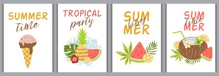 Summer card set, tropical summer fruit elements with quotes, watermelon, ice cream, pineapple coconut cocktail. Bright greeting cards, scrapbook poster cover tag party invitation. Vector illustration.
