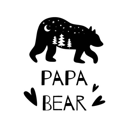 Papa bear black silhouette with forest for Farthers day card. Adventure illustration. Wishing for dad. Bear family vector isolated for print and poster. Greeting postcard for dad. Funny bear.