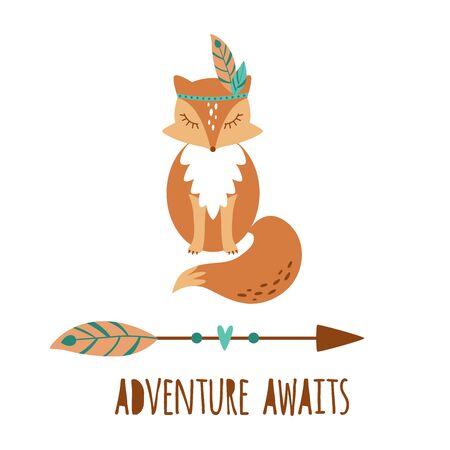 Cute boho fox kids illustration. Tribal animal fox sign tattoo. Adventure awaits. Boho arrow. Travel poster clip art hand drawn. Funny wild fox cozy red standing fox Vector cute animal Forest element.  イラスト・ベクター素材