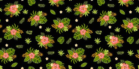 Floral tropical flowers leaves pattern Dark summer seamless exotic background. Hibiscus, jungle palm leaves. Tropic flowers printable digital paper, wallpaper, fabric textile. illustration.