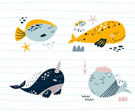 Cute sea animal character set. Smiling whales, sea fish, narwhal. Baby kids nautical animals prints illustration