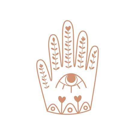 Hamsa Hand with eye. Boho hand, floral ornrate ethnic element. Bohemian sticker. Kids boho amulet Hand of God, protective sign bringing happiness, luck, health good fortune. Vector illustration.
