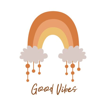 Boho rainbow. Cute kids pastel rainbow. Boho wall art element. Doodle rainbow. Text Good Vibes. Boho tribal decorative print, poster, baby shower invitation. Vector illustration. Modern baby rainbow. 矢量图像