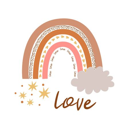 Boho rainbow. Cute kids pastel rainbow. Boho wall art element. Funny doodle rainbow. Text Love. Boho tribal decorative print, poster, baby shower invitation. Modern nursery wall art illustration.
