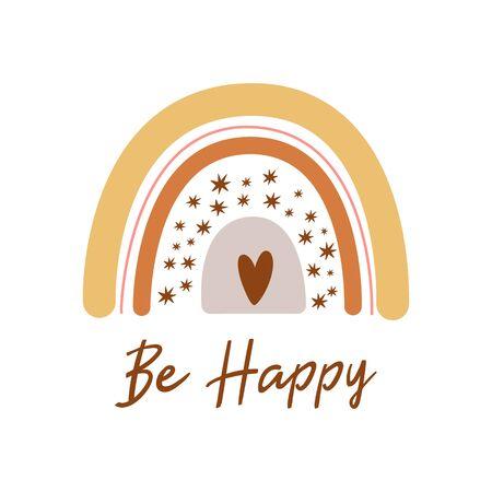 Boho rainbow. Cute kids pastel rainbow. Boho nursery wall art element. Doodle rainbow. Text Be happy. Boho decorative print, poster, baby shower invitation heart shape. Pastel vector illustration. 写真素材 - 150135490