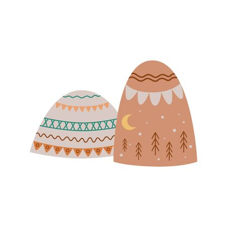 Cute kids mountains illustration in boho style. Pastel boho doodle graphic elements, baby cloth print, posters, aztec hand drawn hills. Tribal art, mountain boho, outdoor design. Vector illustration.  イラスト・ベクター素材