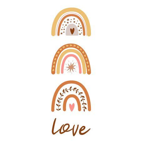 Boho rainbow set. Cute kids pastel rainbows set. Boho nursery wall art element. Doodle rainbows Text Love. Boho tribal print poster baby shower invitation. Vector illustration. Modern baby collection. Stock Illustratie