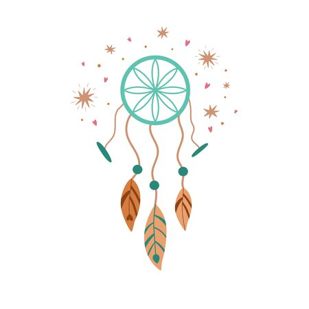 Boho dreamcatcher, cute kids boho element, tribal feathers, baby decorative pastel illustration isolated on white. Baby shower boho element, print Vector dreamcather. Nursery art. Bohemian tattoo. Stock Illustratie