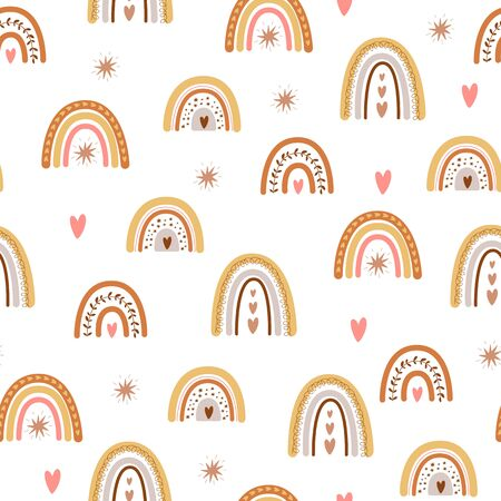 Kids boho rainbow pattern with modern pastel rainbows. Baby boho background Vector seamles pattern