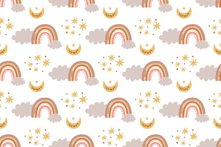 Kids boho rainbow pattern modern pastel rainbows moon clouds Baby boho background
