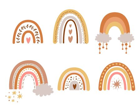 Kids boho rainbows set. Cute pastel rainbows pastel. Hand drawn nursery collection elements. Doodle illustration for baby shower invite birthday, kids party, summer holiday, clothing prints. Vector.