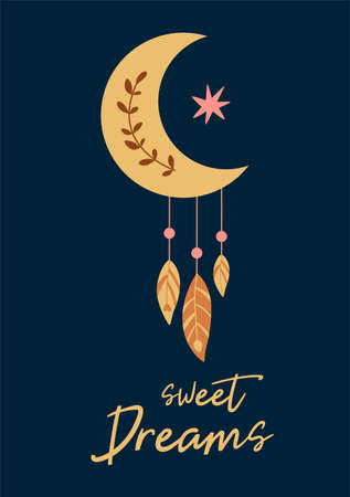 Cute baby moon shape feathers card. Kids moon dreamcatcher on dark background. Sweet dreams text. Baby boho chic print element. Nursery wall art. Printable baby banner. Good night vector illustration. 矢量图像