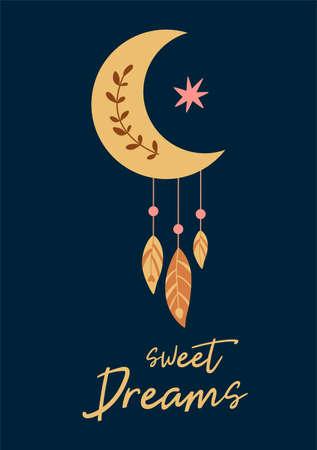Cute baby moon shape feathers card. Kids moon dreamcatcher on dark background. Sweet dreams text. Baby boho chic print element. Nursery wall art. Printable baby banner. Good night vector illustration. Stock Illustratie