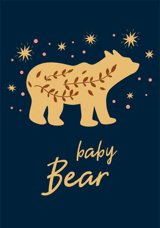 Little baby bear boho chic illustration with stars. Cute animal poste.r Kids card Night poster. Text Baby Bear for kids cloths nursery poster fabric decor in cartoon doodle style. Vector illustration.