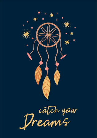 Boho dreamcatcher. Catch your dreams card. Cute kids boho poster on dark background. Tribal poster, baby print element feathers. Night sleep illustration Kids dreamcather Nursery art. Bohemian tattoo. 免版税图像