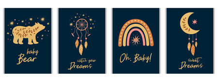 Kids boho cards set baby bear, feather, dreamcatcher rainbow, boho chic moon. Baby collection, birthday invitation, postcard, baby shower element, kids party. Tribal vector illustration.