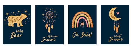 Kids boho cards set baby bear, feather, dreamcatcher rainbow, boho chic moon. Baby collection, birthday invitation, postcard, baby shower element, kids party. Cute tribal illustration. 免版税图像