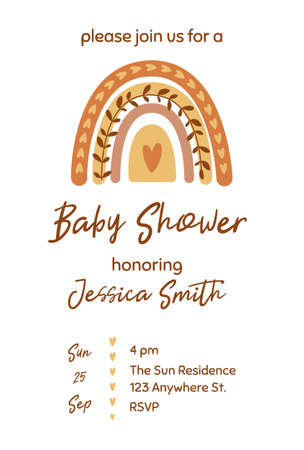 Boho baby shower invitation template with cute pastel rainbow. Gender neutral baby shower invite. Cute modern rainbow. Graphic element. Banner for kids birthday. Boho chic nursery illustration.