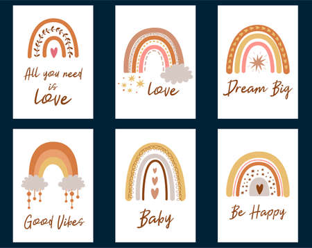 Set of cute baby shower cards with boho rainbows calligraphy quotes. Kids rainbow. Perfect boho chic invitations, greeting cards, posters. Baby rainbows in pastel colors. Cool illustration.