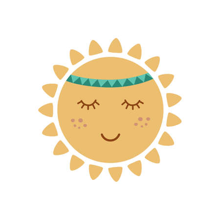 Cute sun with face in tribal boho styel. Graphic element for kids design. Smiling sun. Summer vector concept. Stock Illustratie