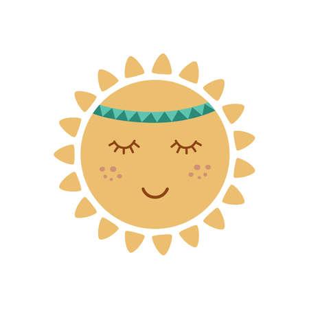 Cute sun with face in tribal boho styel. Graphic element for kids design. Smiling sun. Summer vector concept. Ilustração