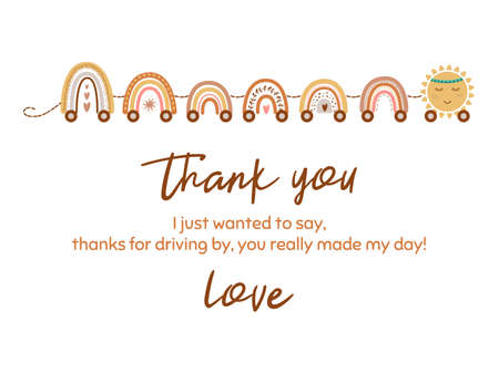 Cute thank you card with train from pastel scandinavian rainbow, star. Baby shower element. Vector Ilustração
