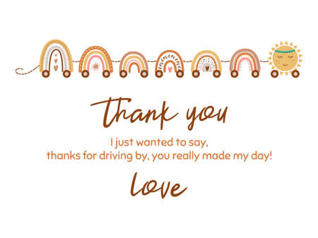 Cute thank you card with train from pastel scandinavian rainbow, star. Baby shower element