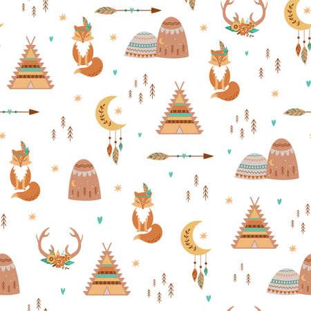 Tribal kids pattern Teepee, Arrow, Feathers, Moon, Fox, aztec mountains, deer horns, flowers. Cute baby boho background. Stockfoto