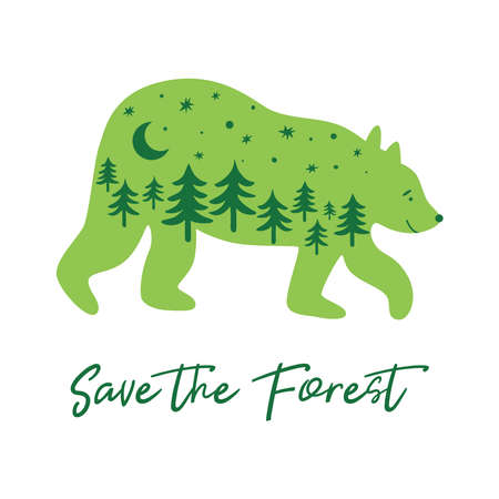 Save the forest concept with green bear, fir trees inside bear silhouette. Green forest animal Vector
