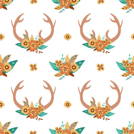 Deer horns pattern. Cute floral antlers in the bohemian style. Hand drawn deer horns background. Vector print.