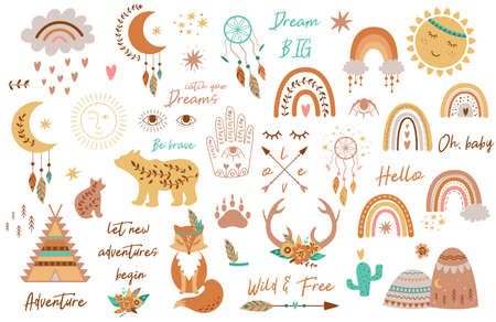Tribal kids set elements. Boho teepee, rainbow, arrow, moon, sun, boho animals, dream catcher deer horns baby collection 免版税图像