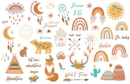 Tribal kids set elements. Boho teepee, rainbow, arrow, moon, sun, boho animals, dream catcher deer horns baby collection Imagens