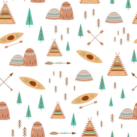 Mountain, trees, camp pattern in cute boho style teepee tent, kayak, adventure seamless pattern for kids camping